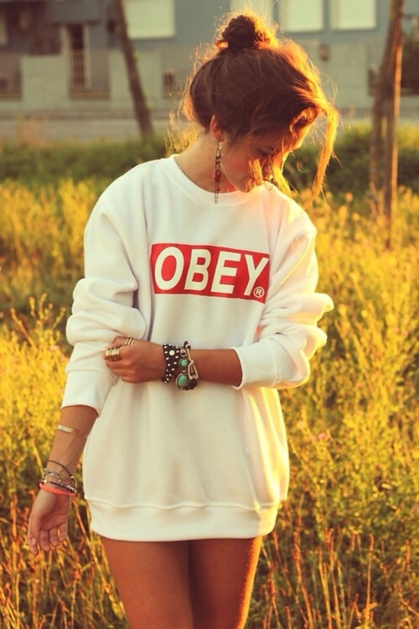 shirt white sweater clothes winter sweater oversized sweater cute sweaters obey obey obey sweatshirt sweat obey winter sweater winter outfits cute jewels bracelets red sweatshirt obey sweater hair accessory blouse