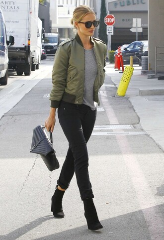 jacket bomber jacket rosie huntington-whiteley fall outfits olive green boots jeans
