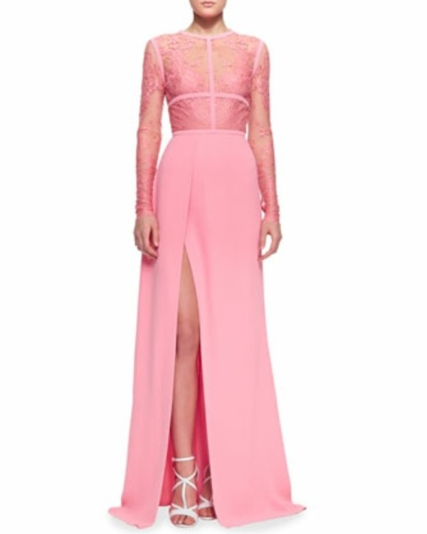 dress long prom dress long sleeve dress evening dress pink dress