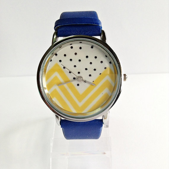 Yellow Chevron and Polka Dots Watch Vintage Style by FreeForme