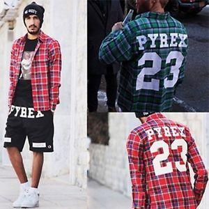 Men Pyrex Vision 23 West Kanye Flannel T Shirt Religion Trill Top Hip Hop Tee H7 | eBay
