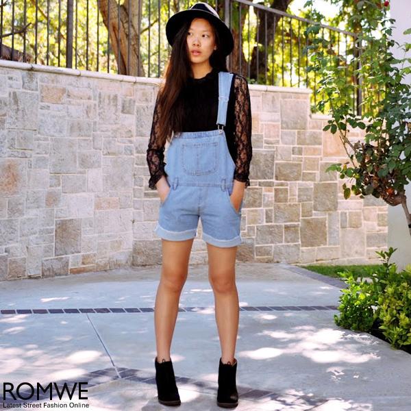 ROMWE | Riveted Straps Rolled Hem Denim Jumpsuit, The Latest Street Fashion