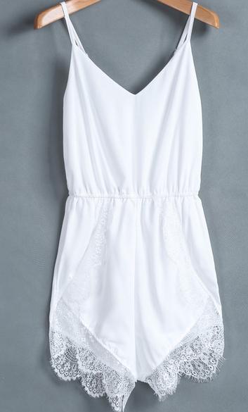 Sexy White Spaghetti Strap Lace Chiffon Jumpsuit - Juicy Wardrobe