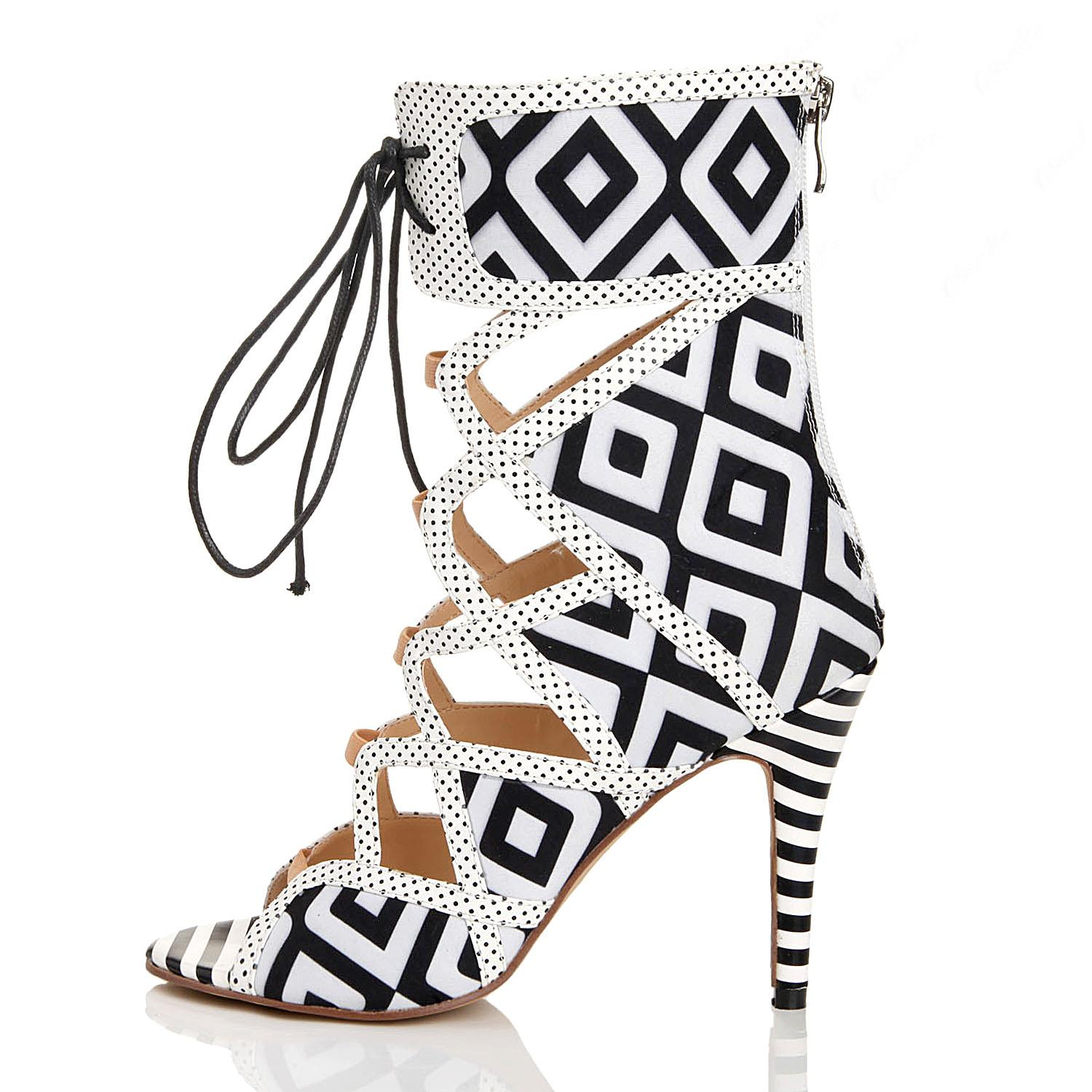 Fashionable Black & White Coppy Leather Cut-Outs High Heel Sandals
