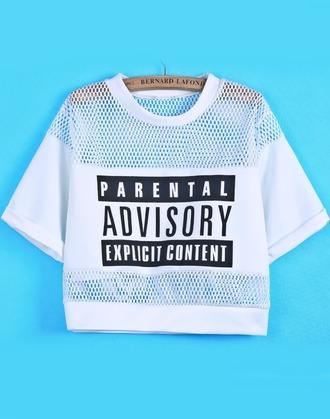 t-shirt crop tops white black monochrome mesh logo parental advisory explicit content top mesh panel jumpsuit www.ebonylace.net shirt blouse