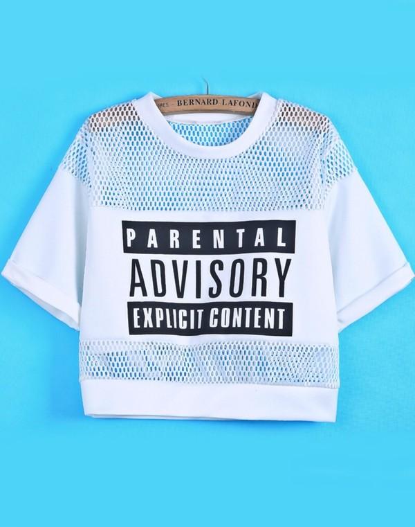 t-shirt crop tops white black monochrome mesh logo parental advisory explicit content t-shirt top mesh panel jumpsuit www.ebonylace.net shirt crop tops blouse