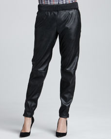 Blank Relaxed Faux-Leather Pants - Neiman Marcus