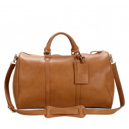 Women's Cognac Vegan Leather Vegan Weekender | Cassidy by Sole Society