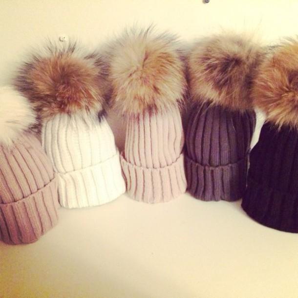 hair accessory fur hat pom poms winter hat hair accessory accessories wintertime hat hat wearing pom real fur faux fur pom pom beanie