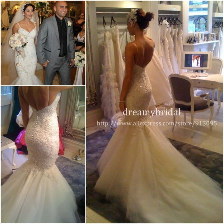 Wholesale   Real 2014 Sexy Mermaid Lace Tulle Wedding Dress Spaghetti Straps Lace Appliques Chapel Train Bridal Gowns Steven-in Wedding Dresses from Apparel & Accessories on Aliexpress.com