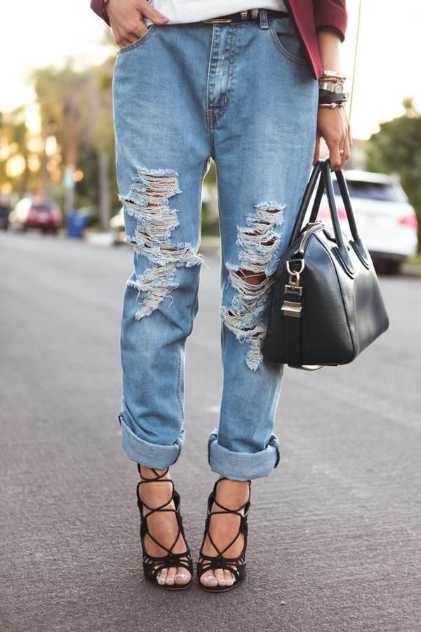 jeans boyfriend jeans summer outfits classy shoes bag