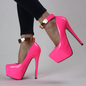 New arrived 2014 Patent Leather Women Hot Neon color sexy 13CM ultra High heel Pumps/Pink yellow platform party shoes-in Pumps from Shoes on Aliexpress.com