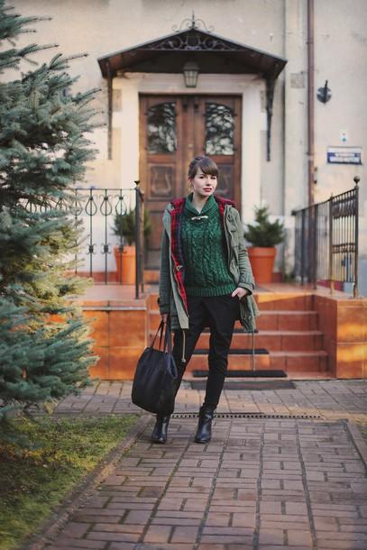 kapuczina blogger winter sweater tote bag parka shoes pants coat sweater bag