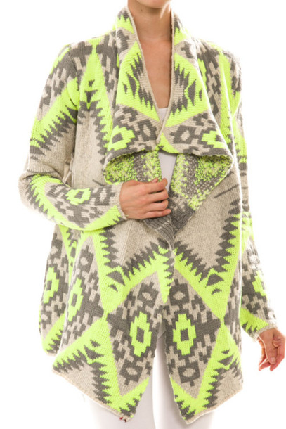 cardigan aztec aztec sweater neon yellow top lime lime sweater