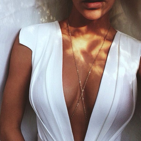 white dress v neck v neck dress body chain sexy dress