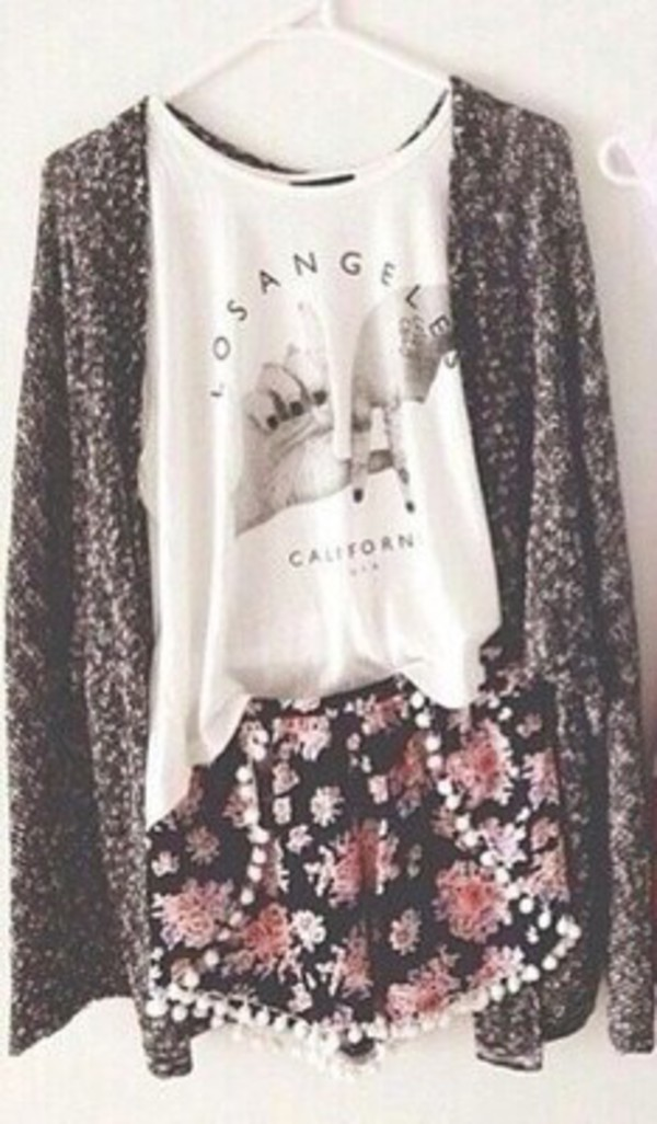 cardigan cardigan big cardigan knitted cardigan tank top top shorts flowers floral