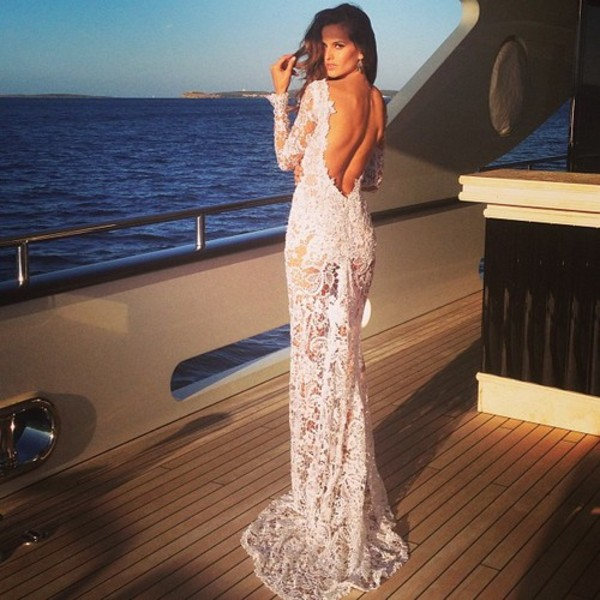 dress lace white long pretty backless flowers beach water legs see through long sleeves