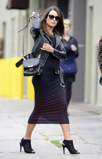 dress sandals all black everything lea michele jacket purse sunglasses shoes