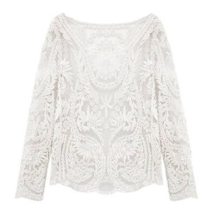 Amazon.com: Kobwa(TM) White Crochet Semi Sheer Embroidery Knit Sweater T Shirt  Free Keyring: Sports & Outdoors
