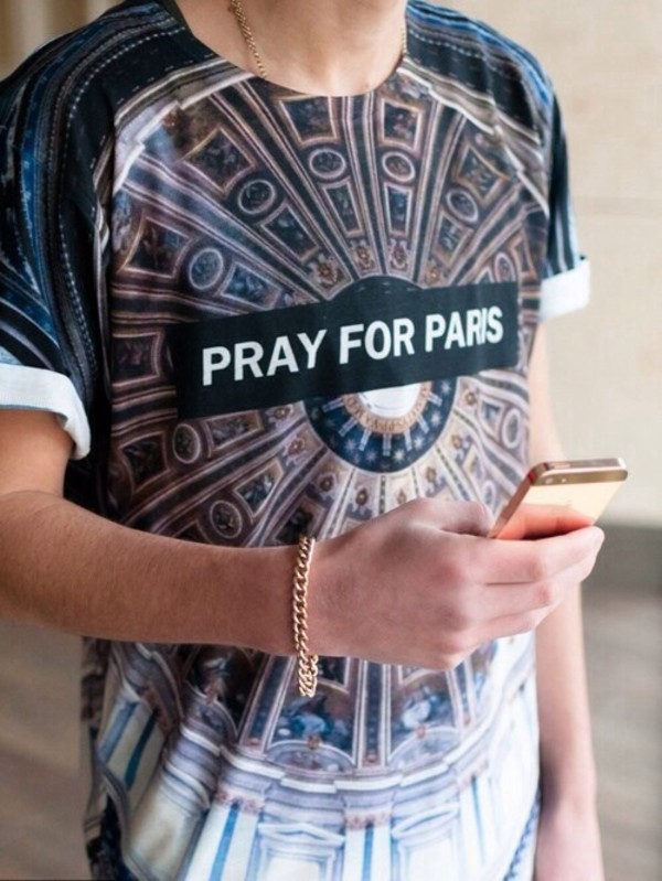 shirt pray paris pray for paris fashion brand t-shirt dope dope dope shit picture of paris picture pattern cool urban chic punk hipster punk hipster skater skater skirt kaleidoscope black t-shirt gold gold chain blue printing jewels