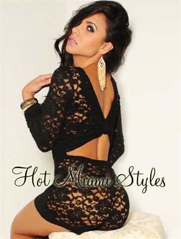 Black Lace Nude Knotted Key-Hole Back Long 3/4 Romper