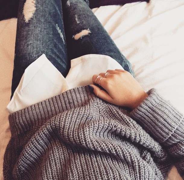 jeans denim pullover sweater grey sweater grey torn clothes ripped jeans winter sweater winter outfits fall sweater