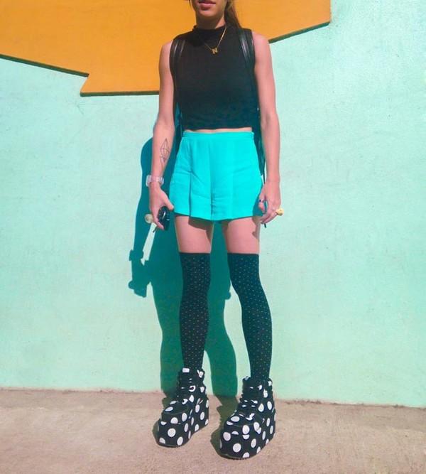 shorts platform shoes polka dots black and white skirt tank top