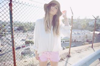rumi fashion toast white blouse pink blouse blouse