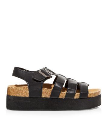 Black Chunky Flatform Gladiator Sandals