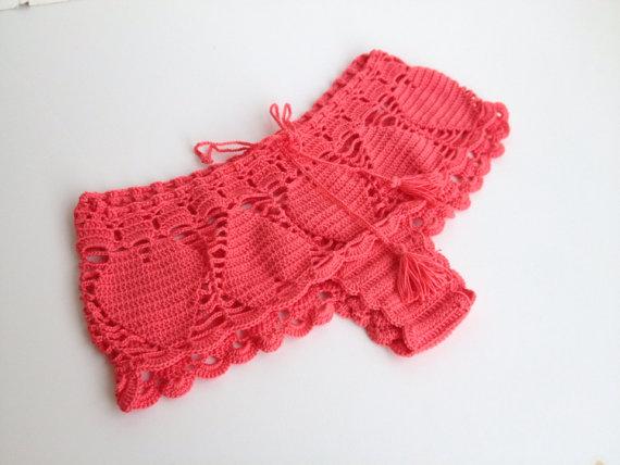 Coral red lace shorts crochet shorts mini shorts by senoAccessory