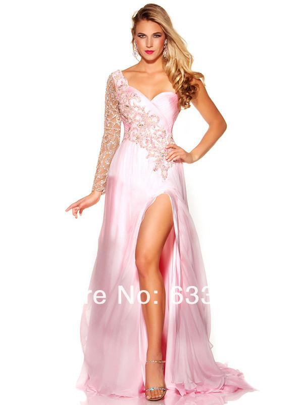 dress prom dress long prom dress cute slit pink prom dress