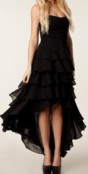 dress black ball gown chiffon maxi plain fashion
