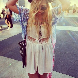 dress lace tie dye grunge boho hippie crochet sweater coat sunglasses bag studs tassel black leather jewels shirt blouse lace blouse white shirt white blouse kimono jewelry clothes