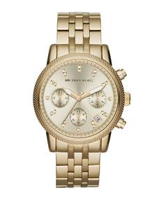 Michael Kors Mid-Size Golden Stainless Steel Ritz Chronograph Glitz Watch - Michael Kors