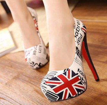 2014 New British Flag Union Jack   Newspapers Fine European And American High heeled Shoes, Women's Singles Star Comfort Shoes-inPumps from Shoes on Aliexpress.com
