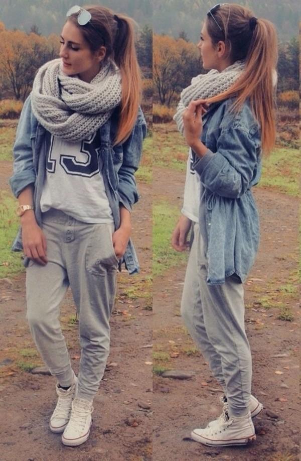scarf blouse t-shirt pants shoes jacket