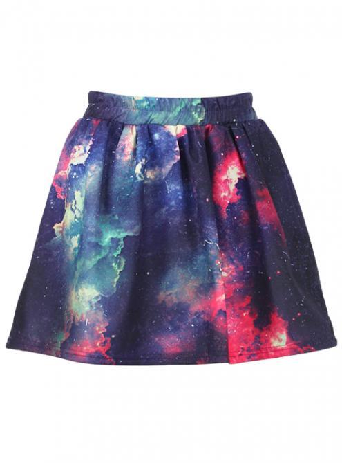 Colorful Clouds Print Elastic Skirt$28