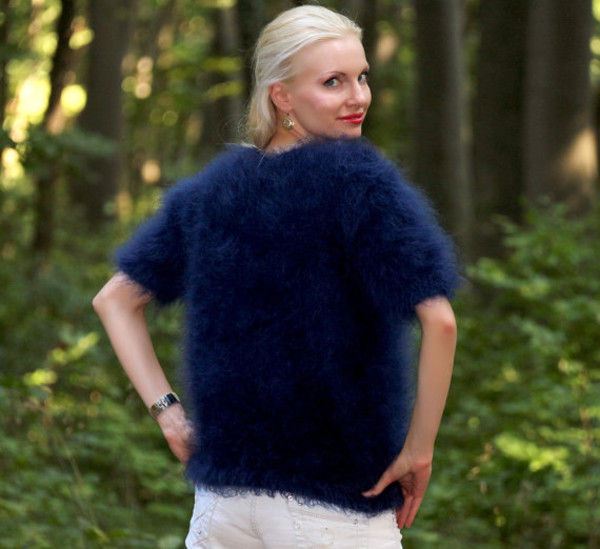 blouse hand knit made mohair sweater jumper supertanya blue angora alpaca cashmere wool soft fluffy fluffy