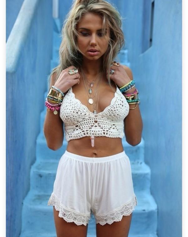 top cream crochet crop top woven top shorts