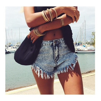 shorts denim shorts denim high waisted shorts blue shorts boho ethnic gold jewels bracelets gold bracelet summer shorts summer outfits hippie hippie jewelry