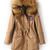 Khaki Faux Fur Hooded Drawstring Union Jack Coat - Sheinside.com