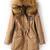 Khaki Faux Fur Hooded Drawstring Union Jack Coat - Sheinside.com