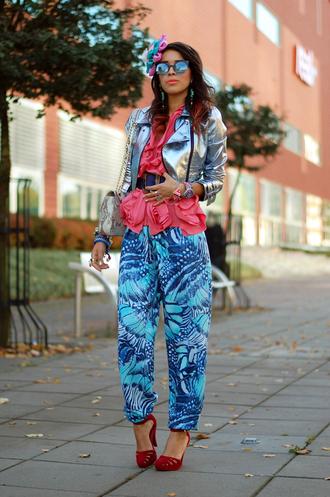 macademian girl jacket t-shirt pants shoes belt bag sunglasses jewels
