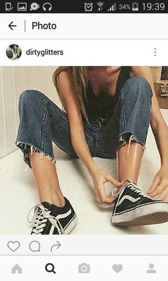 jeans vintage 80s style 90s style denim pantalon jeans déchiré déchiré large boyfriend indie vans young cut cut jeans boyfriend jeans