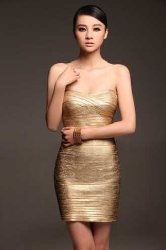 herve leger dress bandage dress metallic dress bodycon
