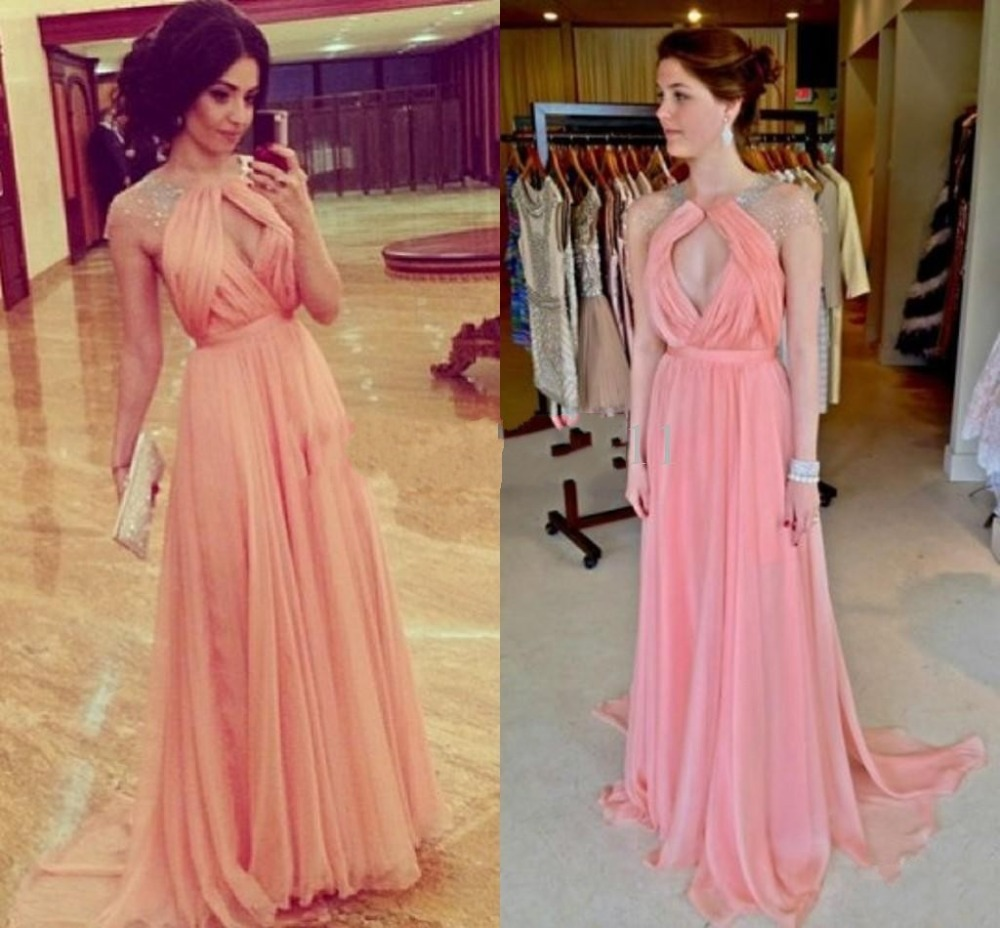 Real Images!2014 New Tarik Ediz Sheer Backless Sexy Evening Dresses A Line Halter Pink Chiffon Beads Formal Dress evening dress-in Evening Dresses from Apparel & Accessories on Aliexpress.com