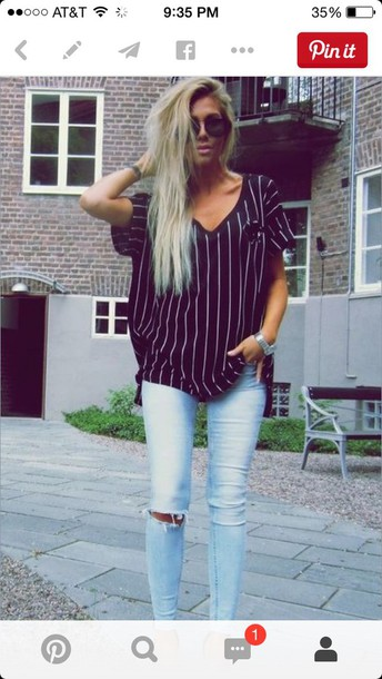 stripes ripped jeans pocket t-shirt blonde hair shirt