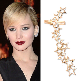 jewels jennifer lawrence earrings ear cuff stars gold statement earrings