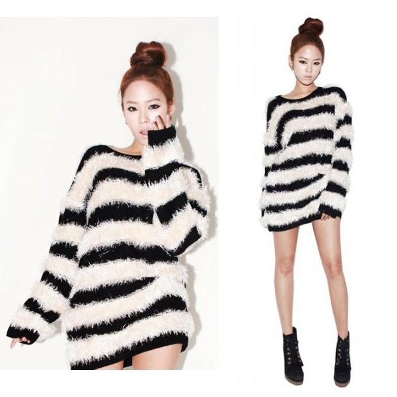 Korean Style Women Sweater Black White Striped Pullover Long Sleeve Jumper Coat | eBay