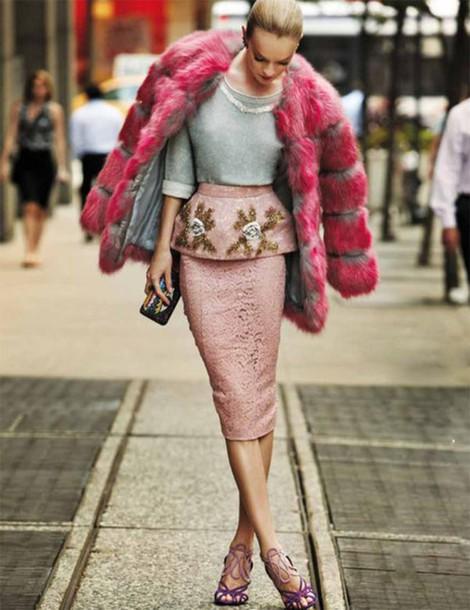 skirt pencil skirt roses embroidered embellished dress pink gold gold lace skirt fur coat rose